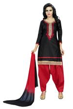 Cotton Printed Salwar Suit Material In Black (Unstitched)