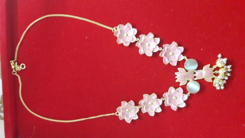 Meenakari flower necklace in golden matt finish