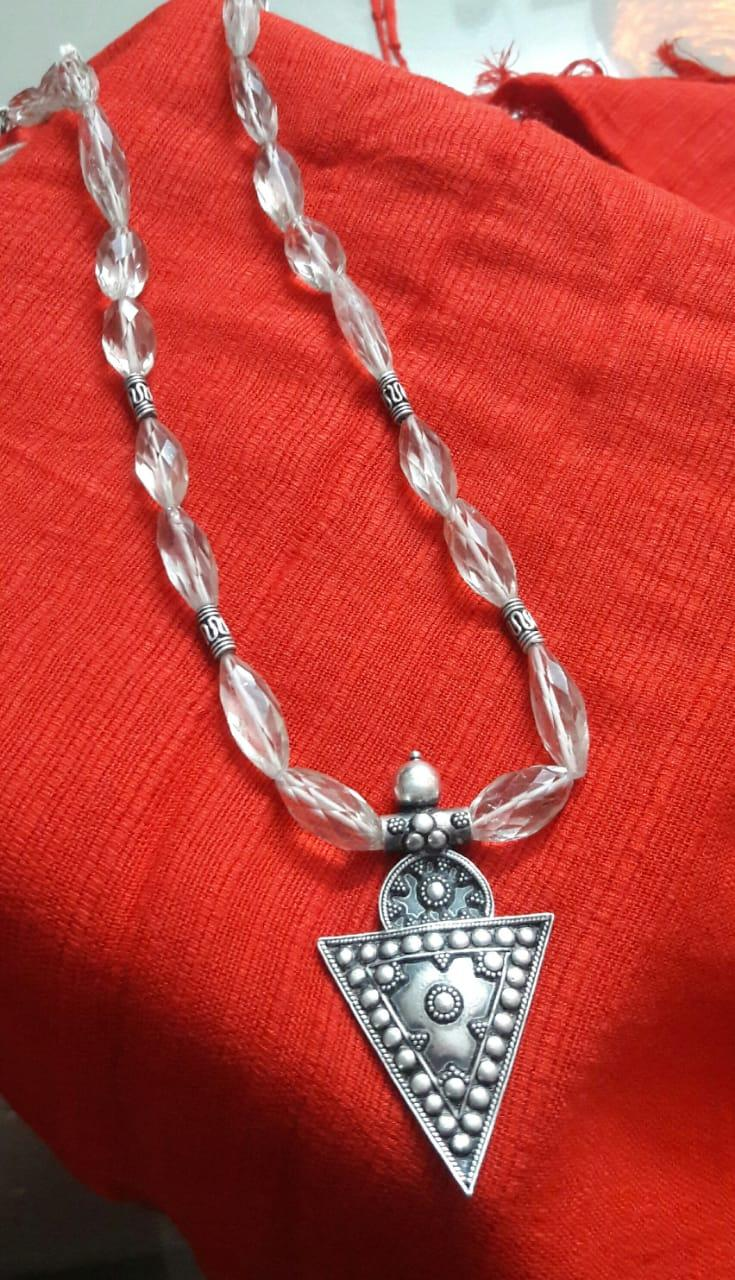 pure sterling silver oxidized pendant in smoky topaz stones