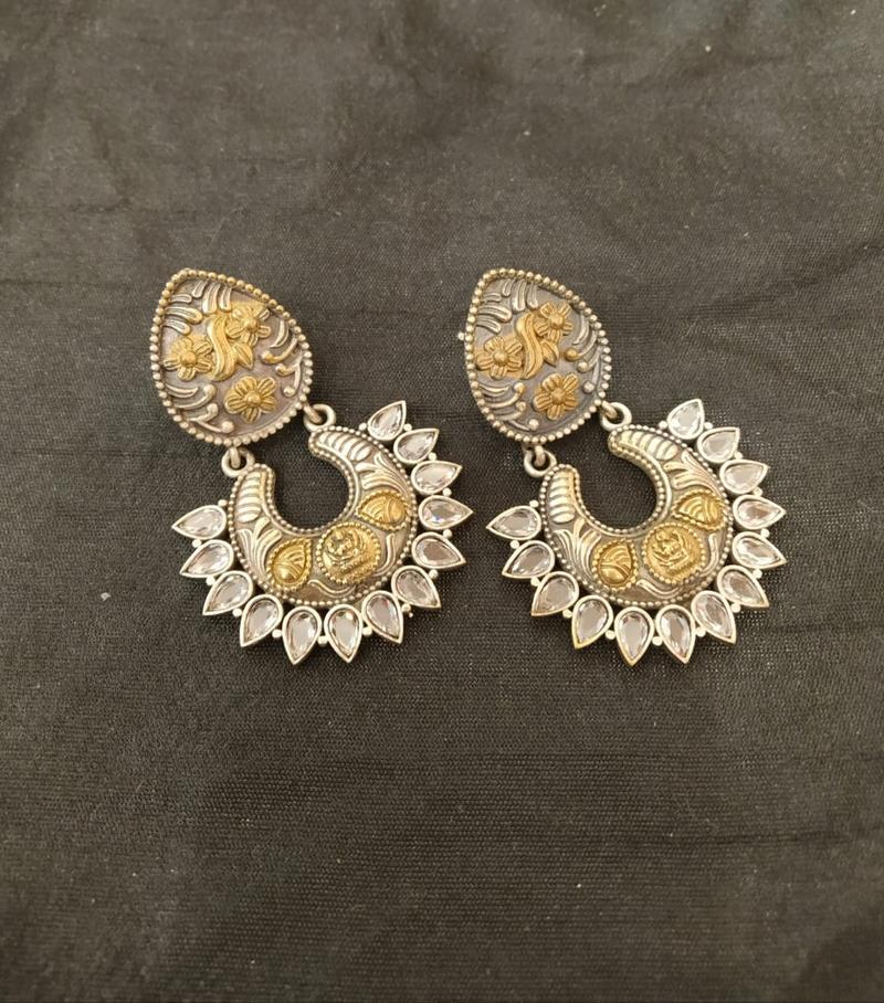 German Silver Earrings With Zircon Stones