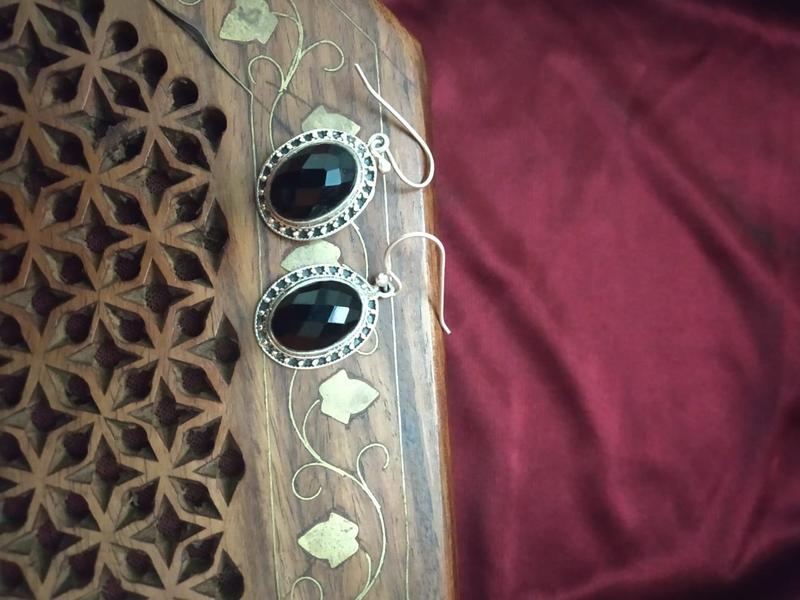 Pure 92.5 Sterling Silver Black Onyx Earrings
