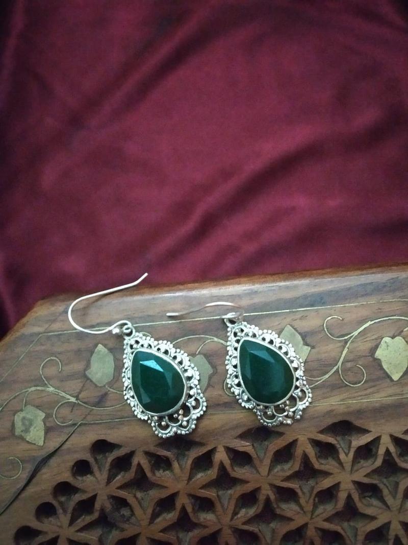 Pure 92 . 5 Sterling Silver Emerald Stone In Semi Precious