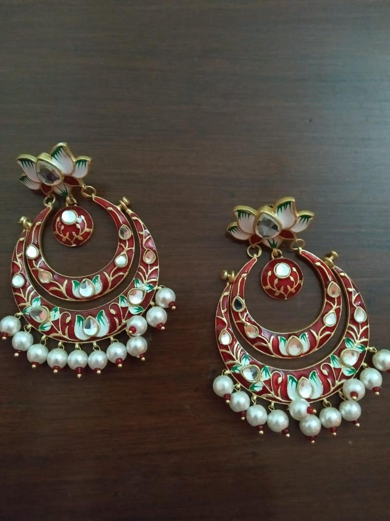 Beautiful chandbali in red, green meenakari and kundan design in German silver