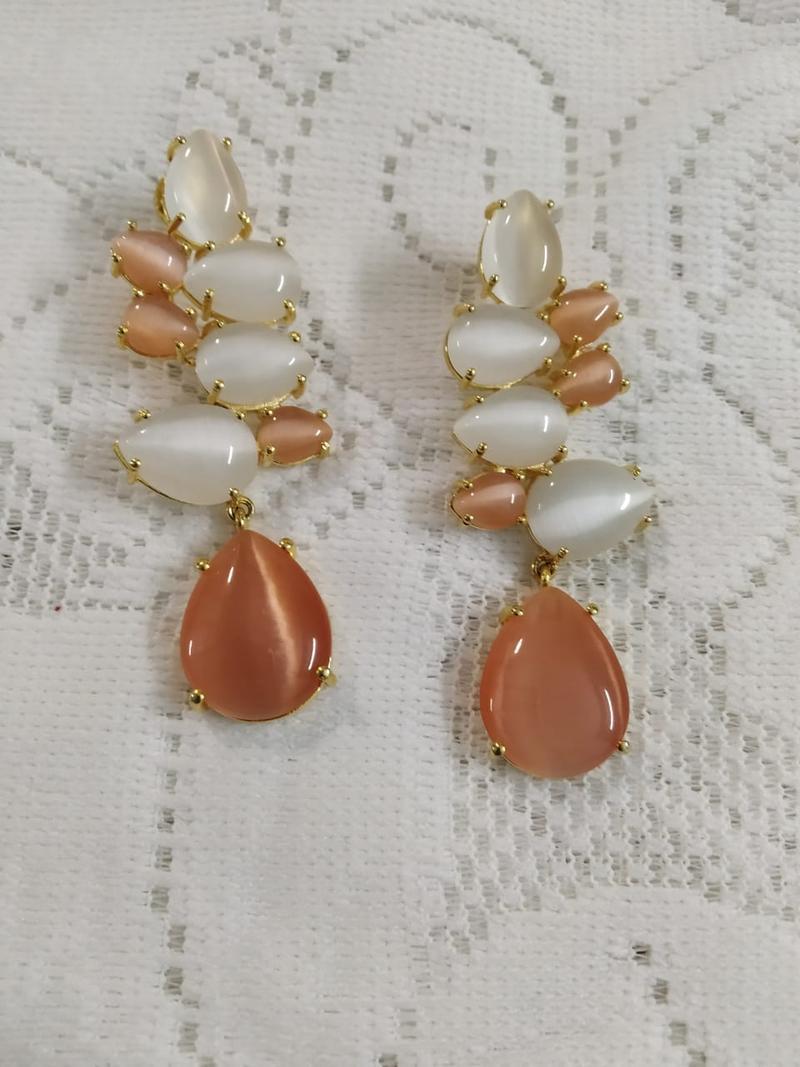Peach & Cream Stone Earrings In German Silver