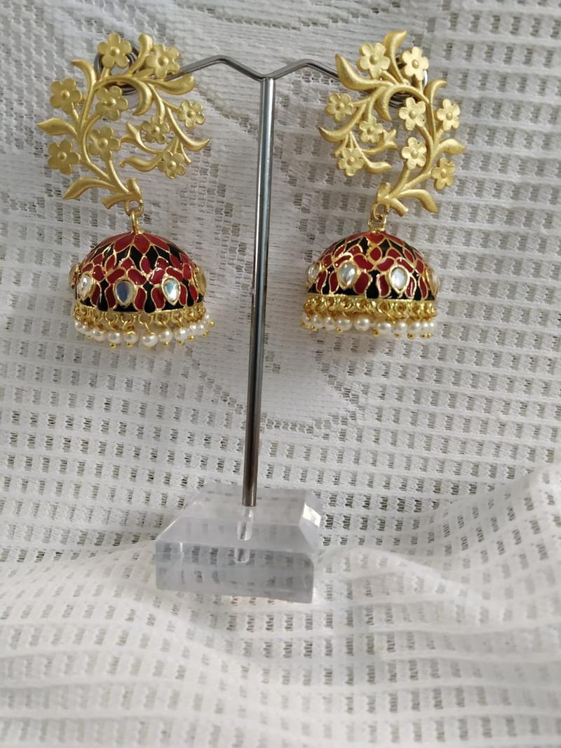 Red,Black & Golden Meenakari German Silver Jhumki With Kundan