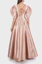 Puffed Sleeve Gown With Open Back
