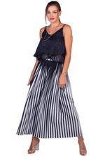 Miella Black & White Lea Pleated Palazzos (PN023-Black)