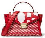 Michael Kors Red & White Whitney Medium Graphic Logo Satchel (30S9LWHS2O)