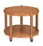 Centro Round Coffee Table With Wheels- Brown
