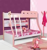 Princess Twin Bunk Bed With Ladder- Pink