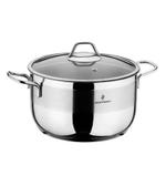 Sofram Stainless Steel Deep Casserole With Glass Lid- 20 cm