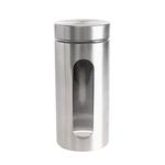 Bella Stainless Steel Finish Glass Jar with Window- 1240 ml