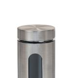 Bella Stainless Steel Finish Glass Jar With Window- 950 ml