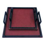 Square Pure Leather Tray Set Of 2