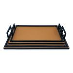 Rectangle Pure Leather Tray Set Of 2