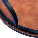 Round Pure Leather Tray Set Of 2