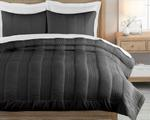 Charcoal Grey Quilted Double Bed Cover With Two Pillow Case