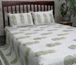 Pineapple Print Hand Quilted Bed Cover With Two Pillow Case.