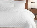 Snow White Quilted Double Bed Cover With Two Pillow Case