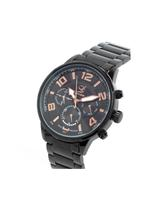 Louis Cardin stainless steel black multifunctional Quartz Butterfly Buckle Watch For Men 1107G