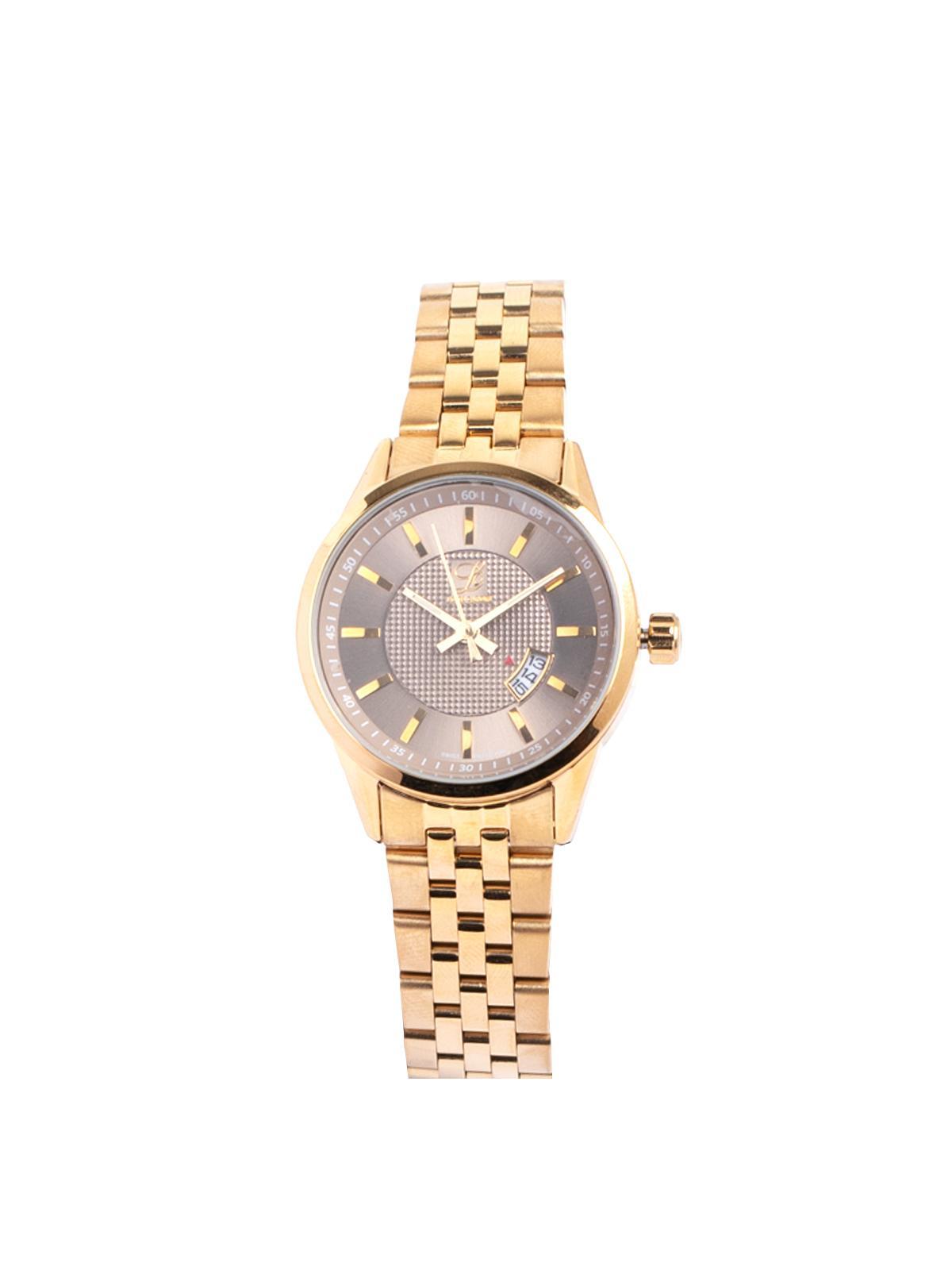 Louis Cardin Stainless Steel Gold Grey Butterfly Buckle Watch For Women 8823L(1)