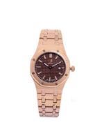 Louis Cardin Stainless Steel Quartz Rose Gold Brown Butterfly Buckle Watch For Women 8830L