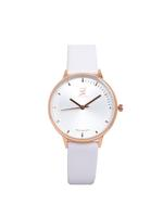Louis Cardin Genuine Leather White Rose Gold Quartz Normal Buckle Watch For Women 9830L