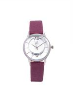 Louis Cardin Genuine Leather Grape Red White Silver Quartz Normal Buckle Watch For Women 9831L