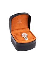 Louis Cardin Stainless Steel Silver Rose White Butterfly Buckle Watch For Women 9833L