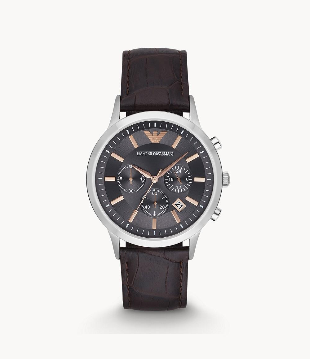 Emporio Armani Men's Grey Dial Leather Band Watch - AR2513