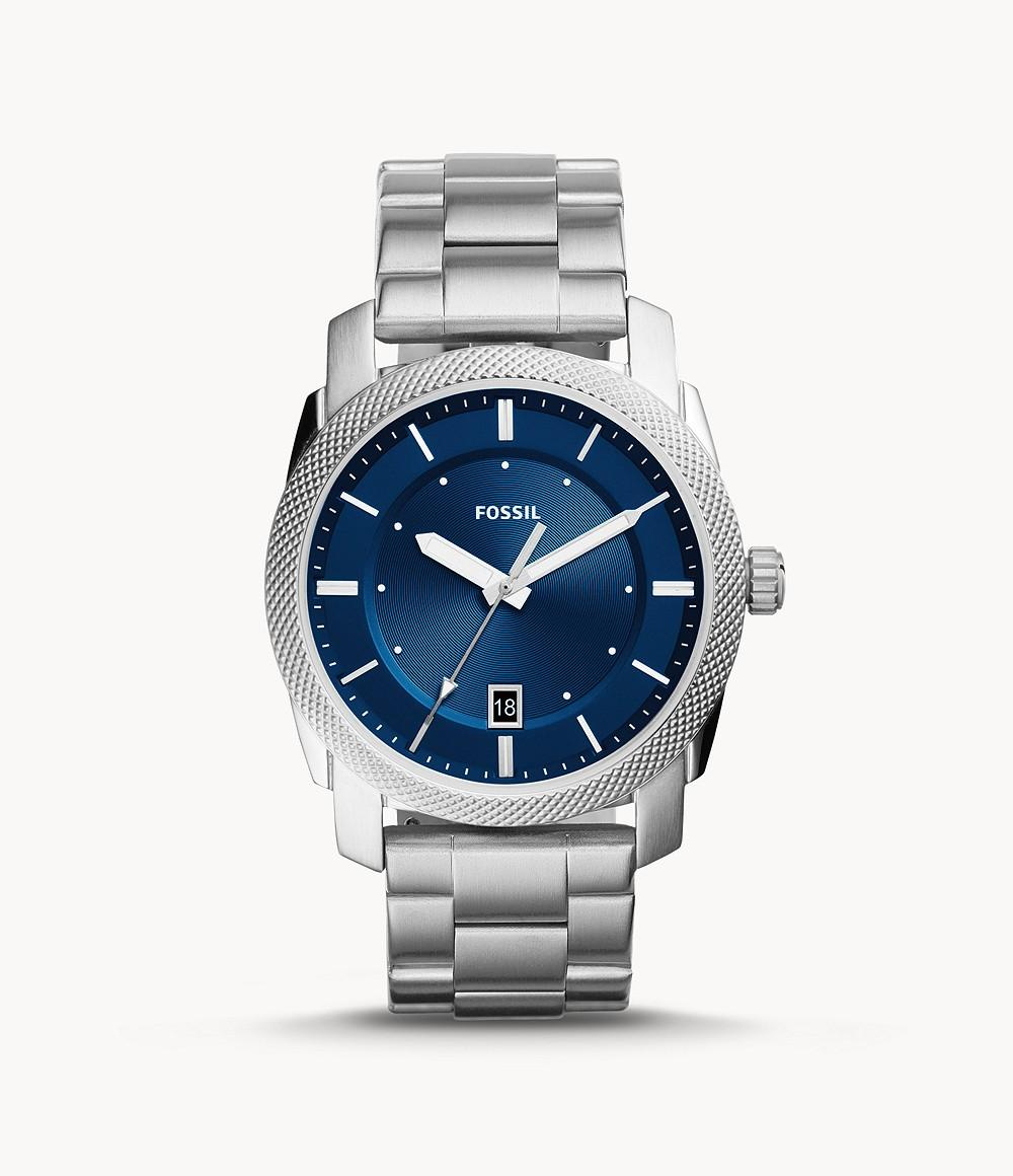 Fossil Casual Analog Blue Dial Silver Stainless Steel Watch for Men - FS5340