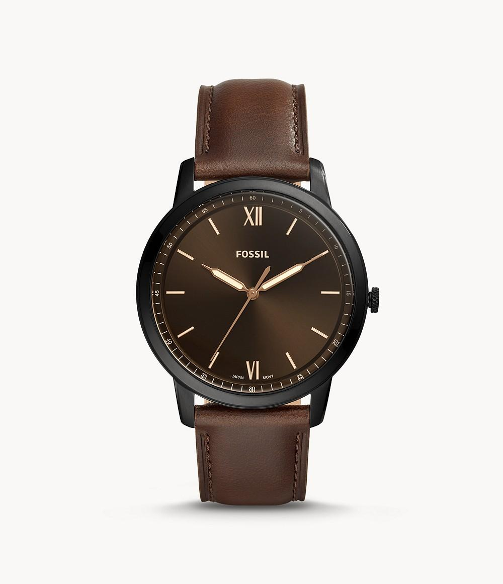 Fossil Mens Quartz Watch, Analog Display and Leather Strap FS5551