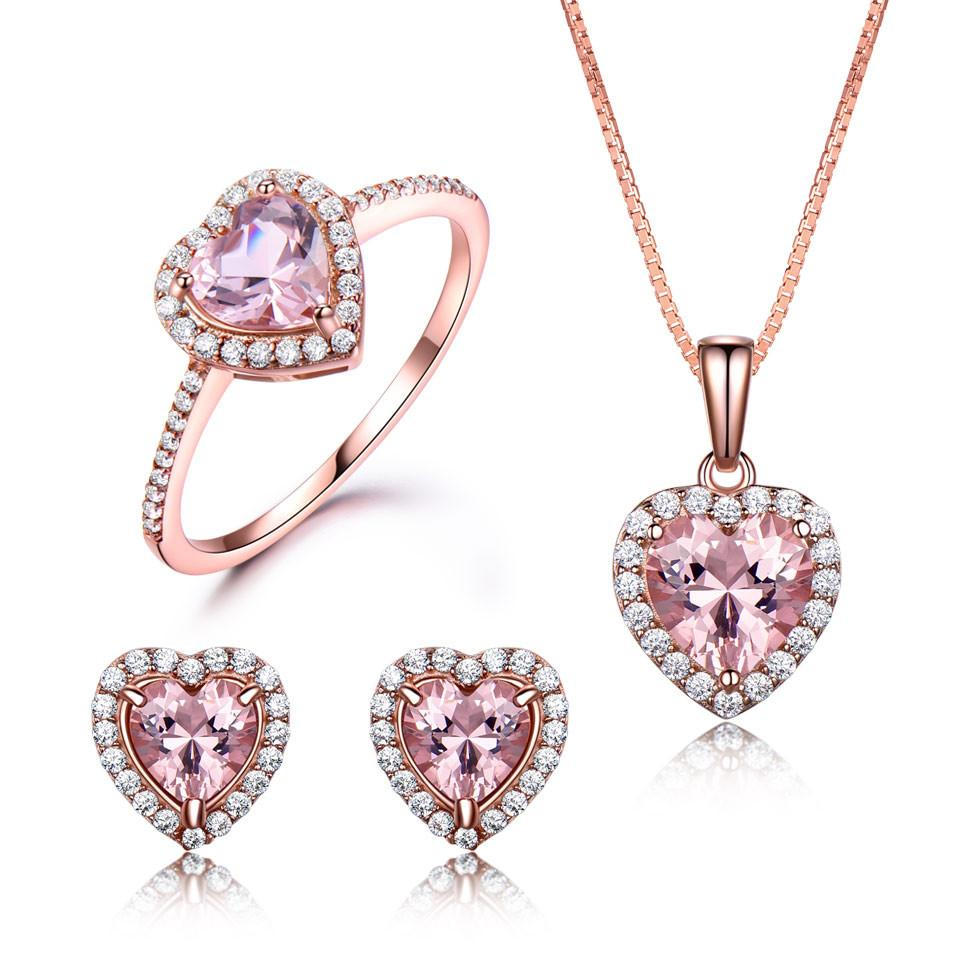 FR Accessories Women Love Story 925 Sterling Silver Jewelry Set Set 4