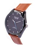 Omax PR Gents Leather Stainless steel Black 42 mm Watch For Men