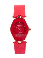 Omax CECT Ladies Leather Stainless steel Red 29 mm Watch For Women