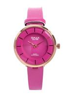 Omax CECT Ladies Leather Stainless steel Pink 22 mm Watch For Women