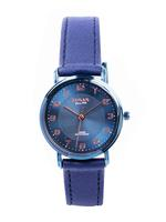 Omax DX Ladies Leather Stainless steel Blue 32 mm Watch For Women