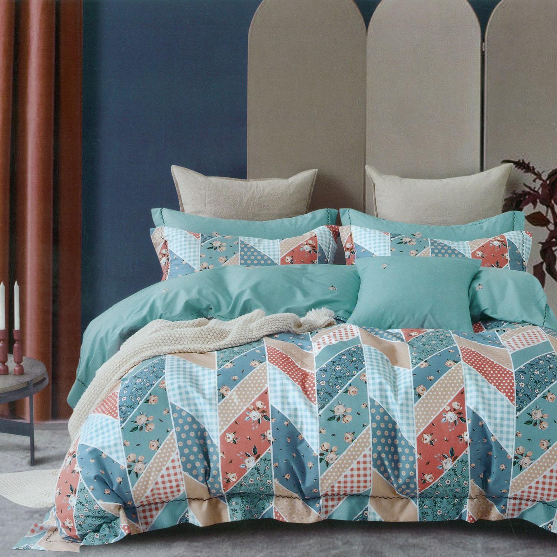 Four Season Check & Floral Printed Double Bedsheet Aqua