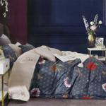 Four Season Floral Printed Double Bedsheet Dark Grey