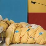 Four Season Feather Printed Double Bedsheet Yellow