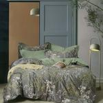Four Season Tree Printed Double Bedsheet Grey