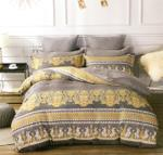 Four Season Traditional Printed Double Bedsheet Grey & Gold