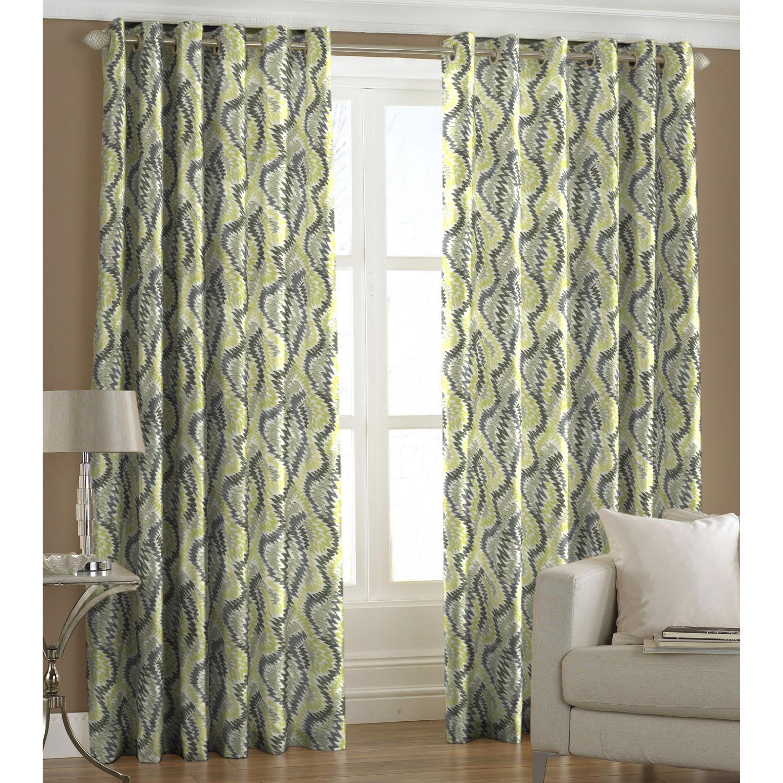 Ready Made Eyelet Green Curtain