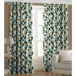 Ready Made Eyelet Floral Blue Curtain