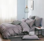 Four Season Check Printed Double Bedsheet Grey