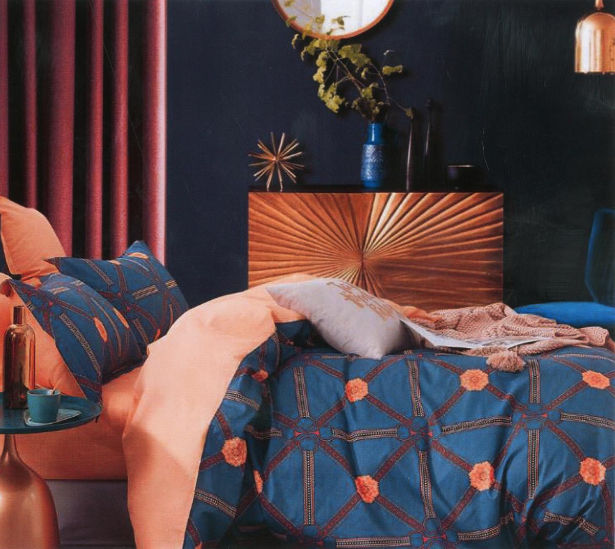 Four Season Geometrical Printed Double Bedsheet Blue