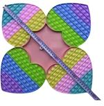 Bubble Pops -Jumbo 4 Heart Fidget Toy with Dice