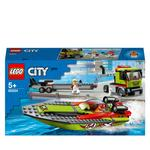 LEGO 60254 City Great Vehicles Race Boat Transporter Truck Toy with Trailer and Speedboat
