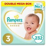 Pampers Premium Care Diapers, Size 3, Midi, 6-10 kg, Double Mega Box, 232 ct