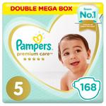 Pampers Premium Care Diapers, Size 5, Junior, 11-16 kg, Double Mega Box, 168 ct